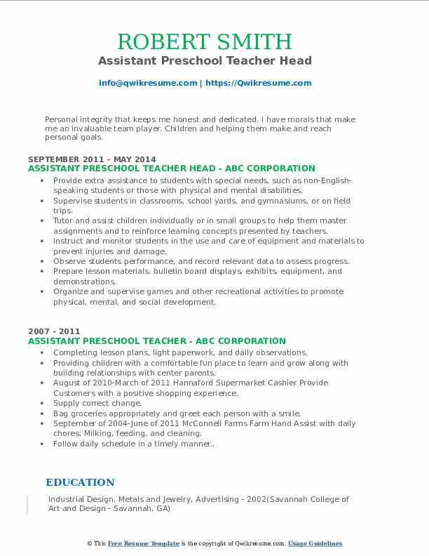Assistant Preschool Teacher Head Resume Format