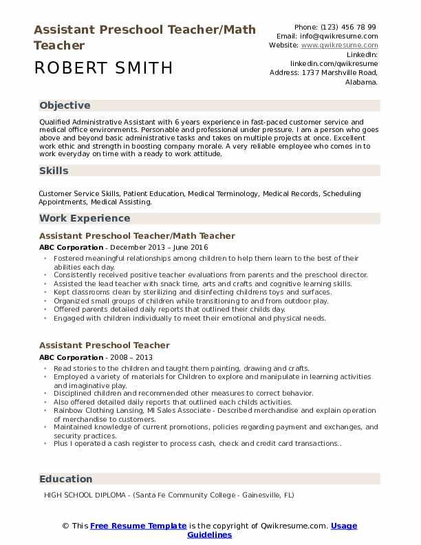 Assistant Preschool Teacher/Math Teacher Resume Model