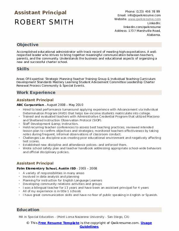 Assistant Principal Resume Samples Qwikresume