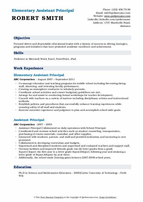 assistant principal resume samples