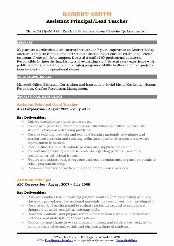 Assistant Principal/Lead Teacher Resume Format