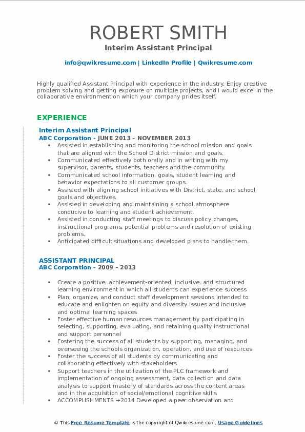 Interim Assistant Principal Resume Sample
