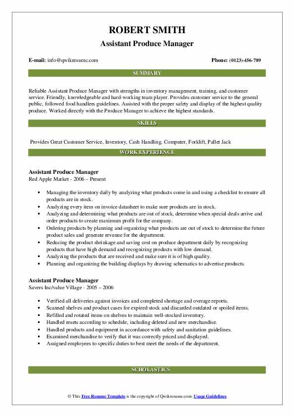 assistant produce manager resume samples