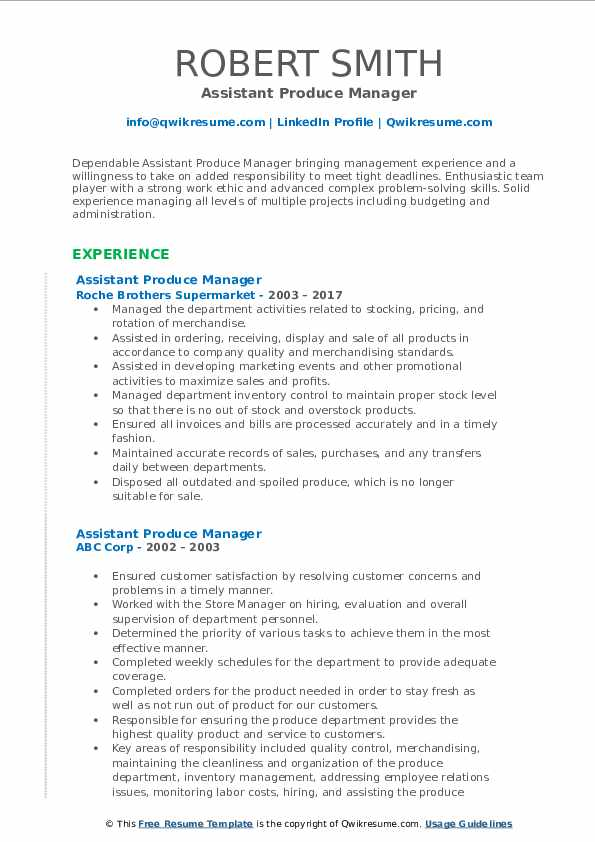 Assistant Produce Manager Resume Example