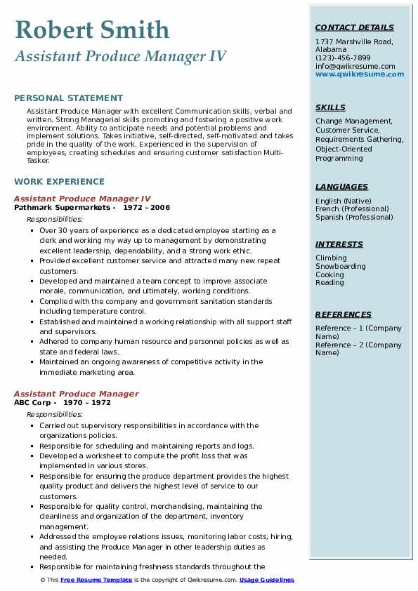 Assistant Produce Manager IV Resume Sample
