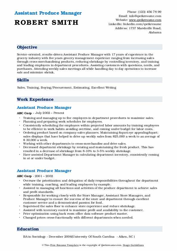 Assistant Produce Manager Resume Format