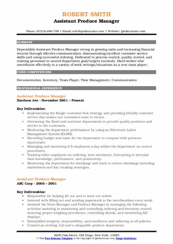 Assistant Produce Manager Resume Model