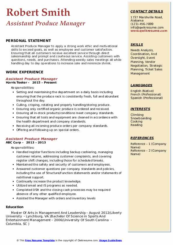 Assistant Produce Manager Resume Sample
