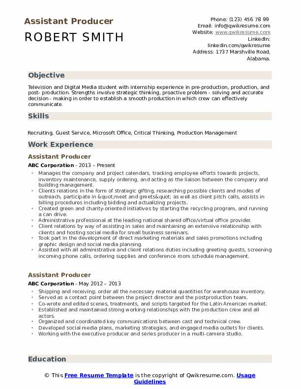 assistant producer resume samples