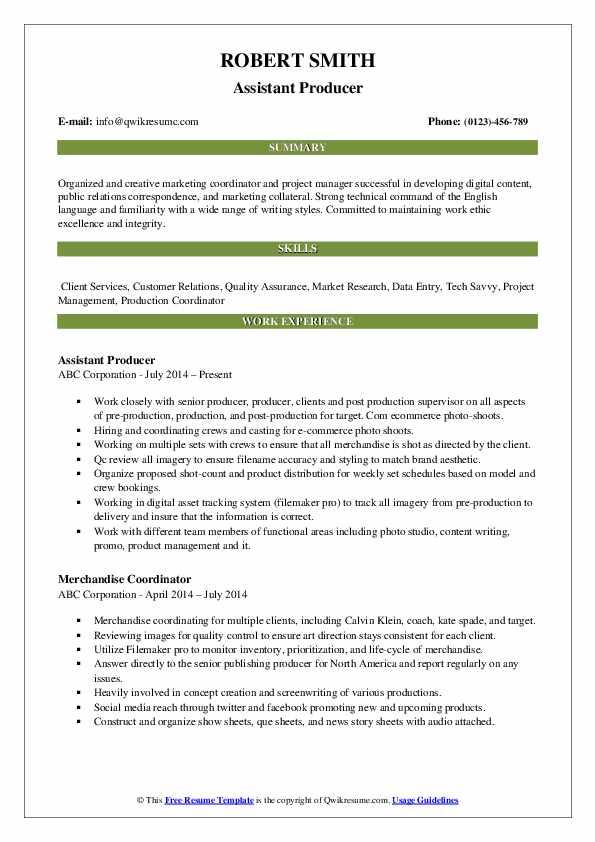 Assistant Producer Resume Format