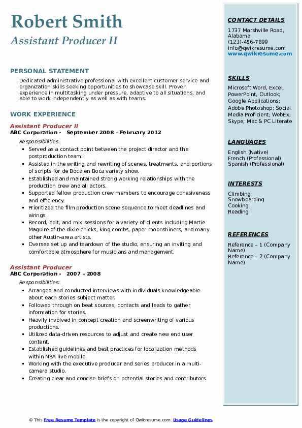 Assistant Producer II Resume Sample