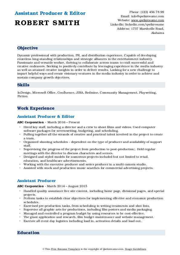Assistant Producer & Editor Resume Model