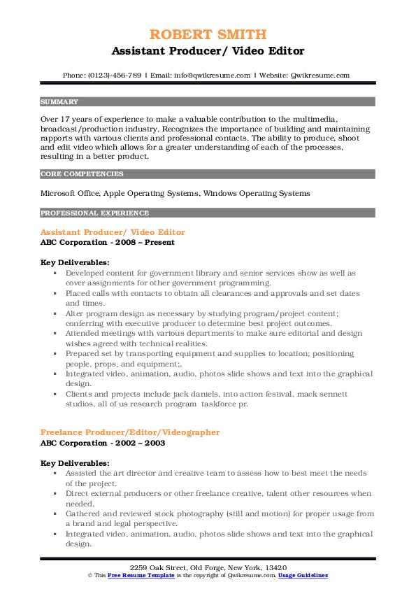 Assistant Producer/ Video Editor Resume Sample
