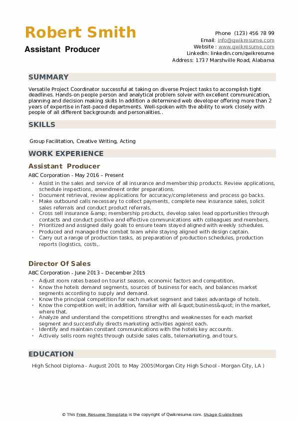 Assistant Producer Resume example