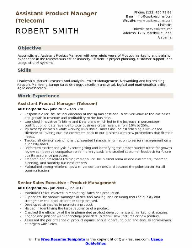 assistant product manager telecom resume example download resume pdf