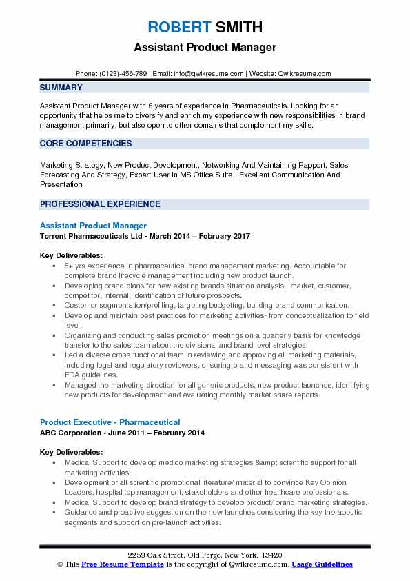 assistant product manager resume samples