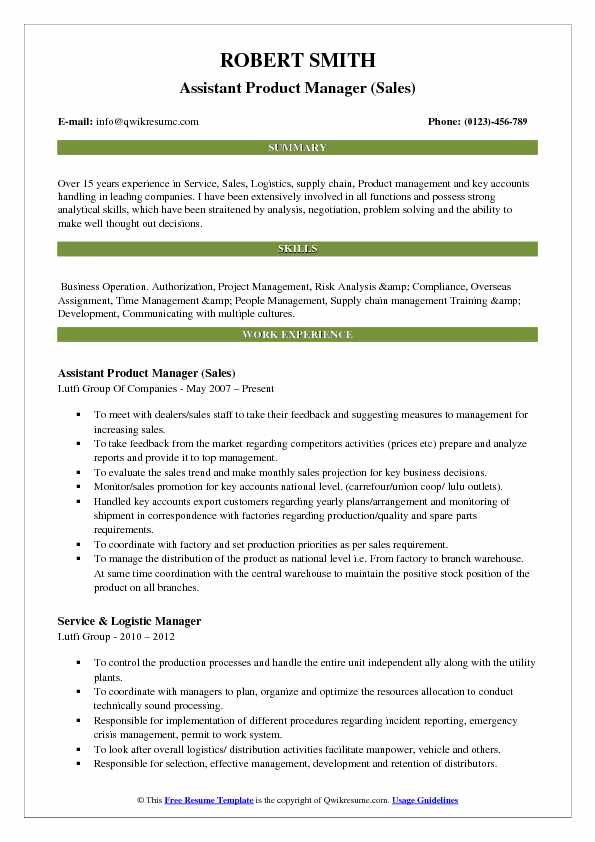 Assistant Product Manager (Sales) Resume Template