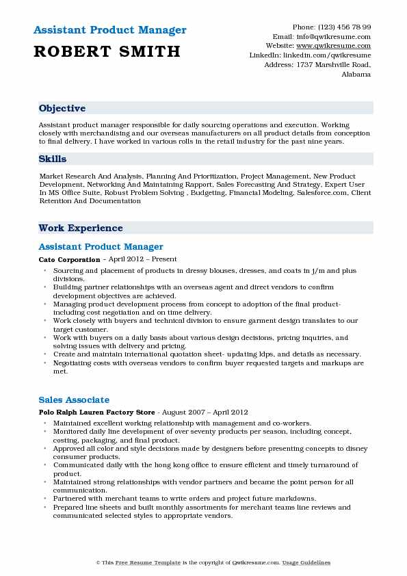product manager resume objective