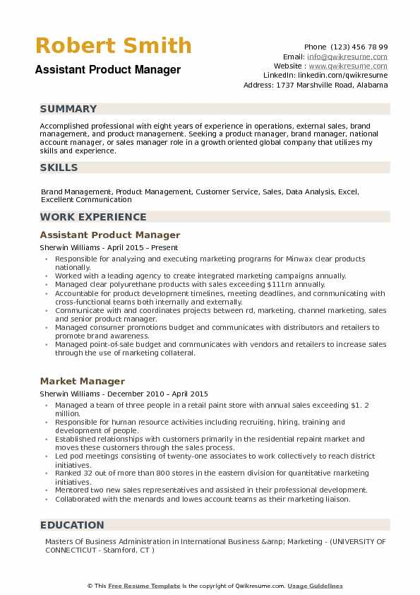 assistant product manager resume example