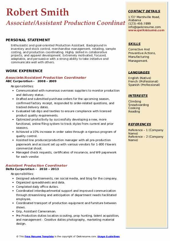 assistant production coordinator resume samples  qwikresume