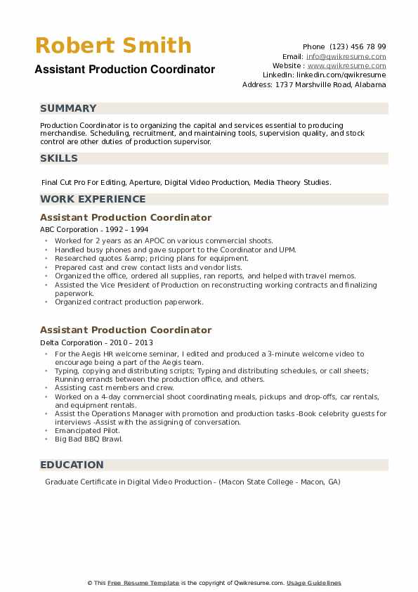 Assistant Production Coordinator Resume example