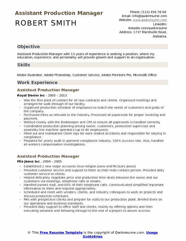 assistant production manager resume samples
