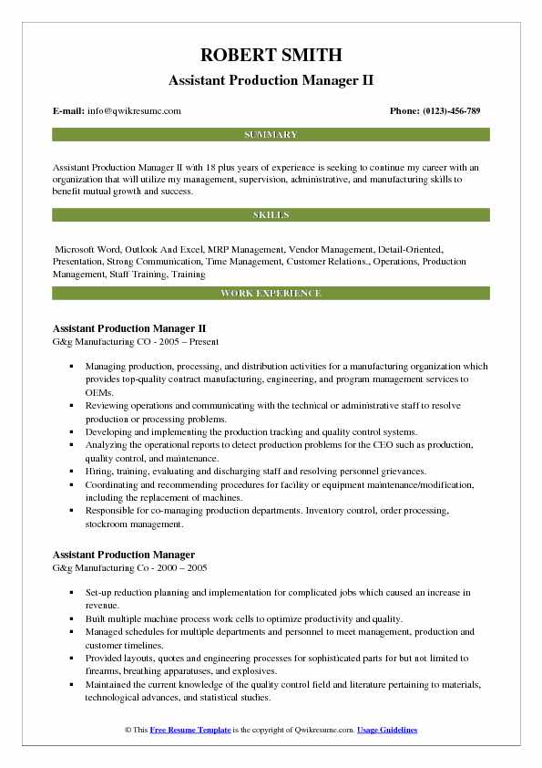 Assistant Production Manager II Resume Model