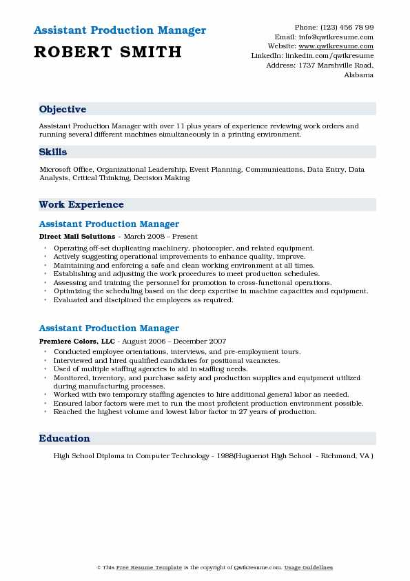 Assistant Production Manager Resume Template