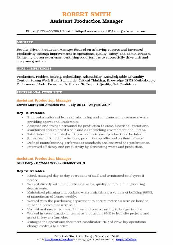Assistant Production Manager Resume Model