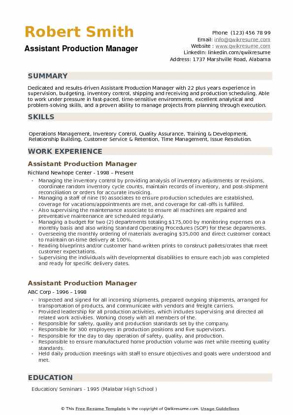 Assistant Production Manager Resume Example