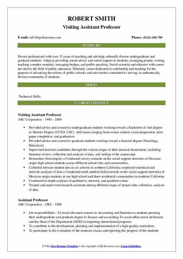 Assistant Professor Resume Samples Qwikresume