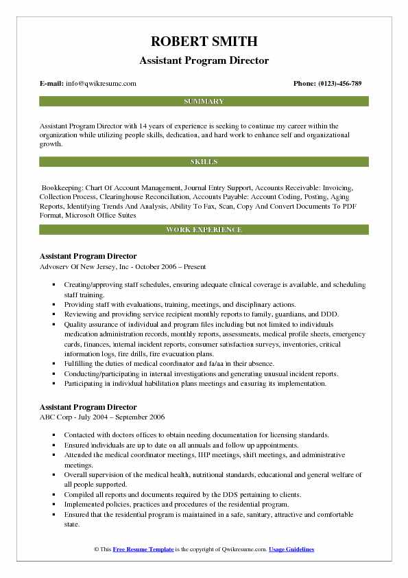 assistant program director resume template - Program Director Resume