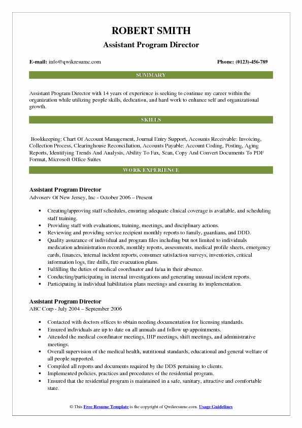 Assistant Program Director Resume Format