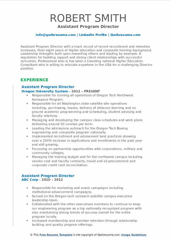 assistant program director resume example - Program Director Resume