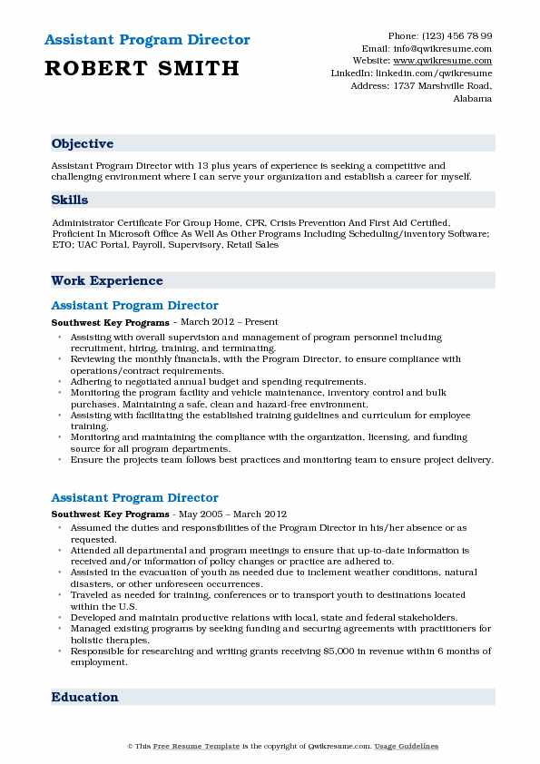 Assistant Program Director Resume Example