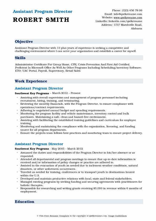 assistant program director resume samples