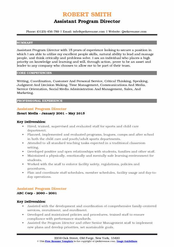 assistant program director resume model - Program Director Resume