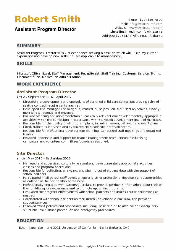 assistant program director resume samples