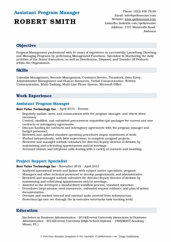 Assistant Program Manager Resume Format