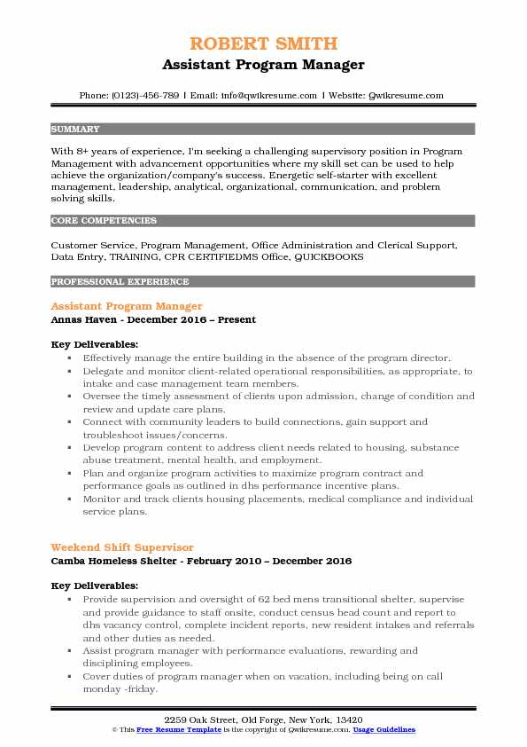 Assistant Program Manager Resume Sample