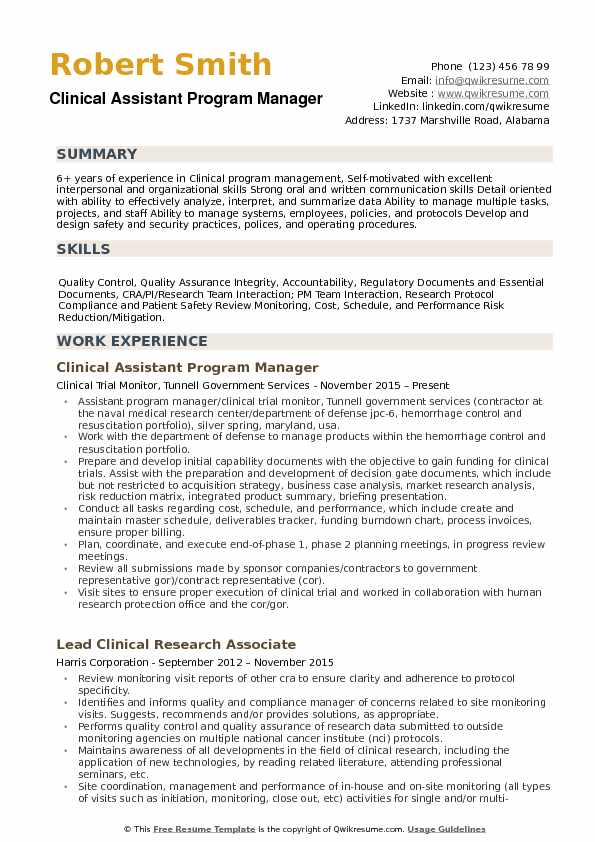 Clinical Assistant Program Manager Resume Model