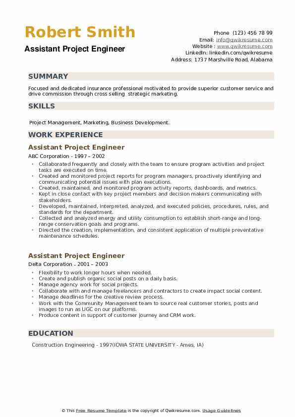 Assistant Project Engineer Resume example