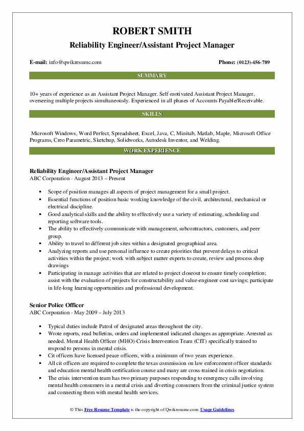 Reliability Engineer/Assistant Project Manager Resume Template