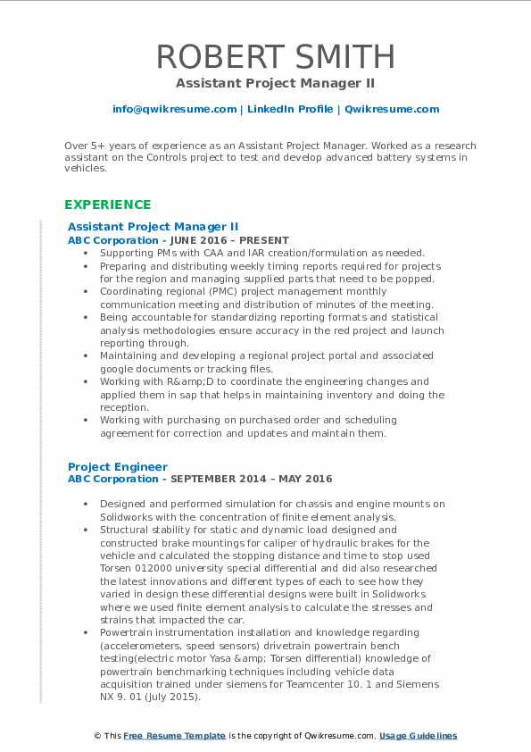 Assistant Project Manager II Resume Sample