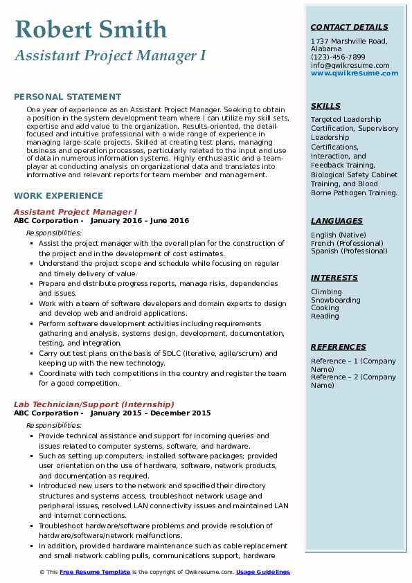 Assistant Project Manager I Resume Template