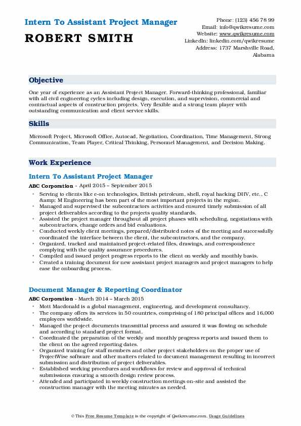 Assistant Project Manager Resume Samples Qwikresume