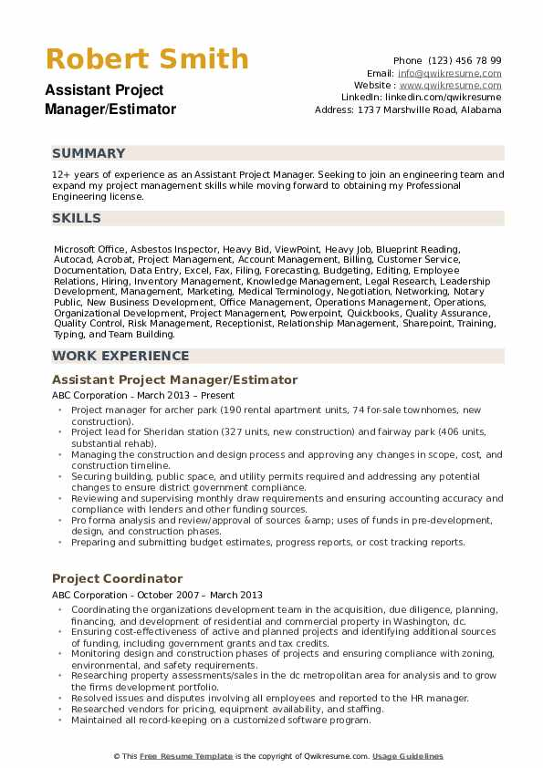 Assistant Project Manager Resume example