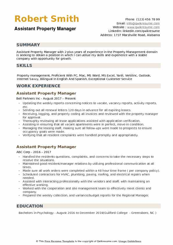 assistant property manager resume samples