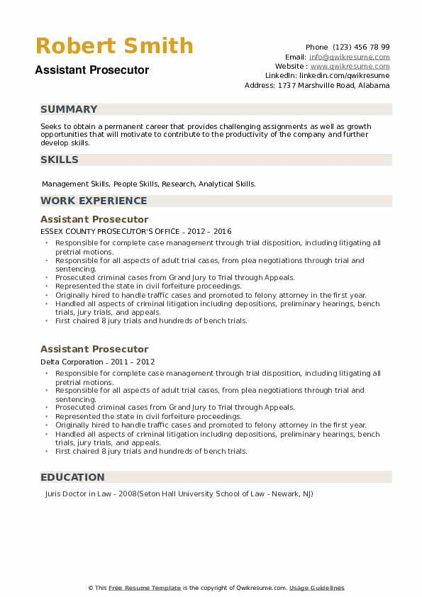 Assistant Prosecutor Resume example