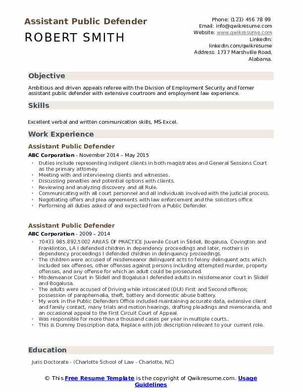 Assistant Public Defender Resume example